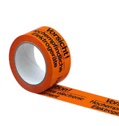 Signalpackband 100053, Vorsicht Elektrogeräte, 50mm x 66m, PP, leise abrollbar, orange/schwarz