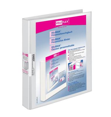 Präsentations-Ringbuch Velodur A4 weiß 4-Ring Ø 25mm 10 Stück mit Drahtniederhalter