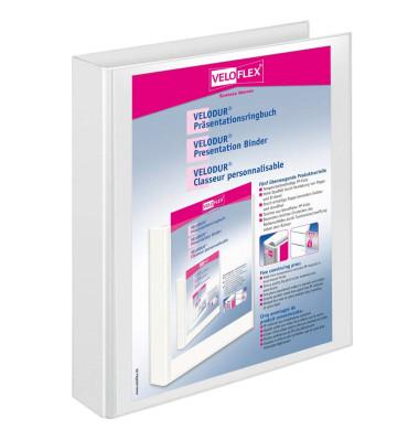 Präsentations-Ringbuch Velodur A4 weiß 4-Ring Ø 30mm 10 Stück mit Drahtniederhalter