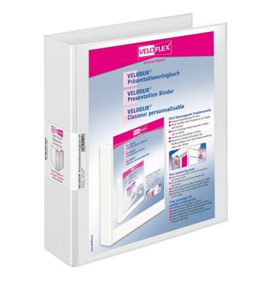 Präsentations-Ringbuch Velodur A4 weiß 2-Ring Ø 40mm 10 Stück mit Drahtniederhalter