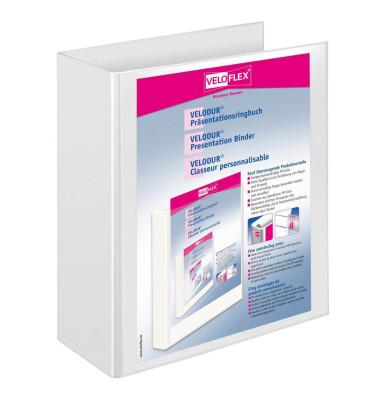 Präsentations-Ringbuch Velodur A4 weiß 4-Ring Ø 60mm 10 Stück mit Drahtniederhalter