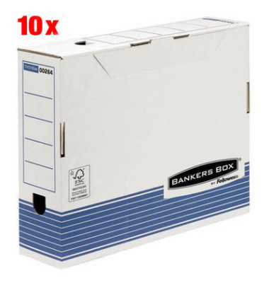 R-Kive Archivboxen Bankers Box 10 Stück weiß/blau 8 x 32,7 x 26,5 cm