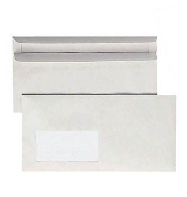 Briefumschläge Din Lang mit Fenster selbstklebend 75g grau 1000 Stück Recycling