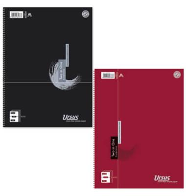 Collegeblock Two in One 608558000, A4 liniert + kariert, 70g 40 Blatt liniert + 40 Blatt kariert, 4-fach-Lochung