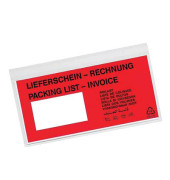 """Lieferscheintaschen Din Lang """"LIEFERSCHEIN - RECHNUNG"""" selbstklebend 250 Stück"""