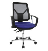Bürodrehstuhl ErgoSteelNet mit Armlehnen blau
