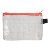 Reißverschlußtasche Mesh Bag PVC A6 173x118mm farblos/orange