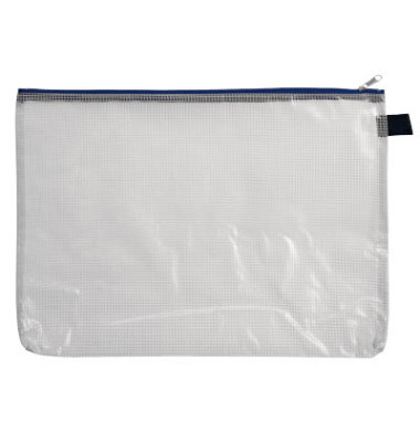 Reißverschlußtasche Mesh Bag PVC A4 347x262mm farblos/blau
