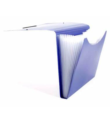 Fächermappe 70009-40 A4 mit 12 Fächern 12-teilig blanko Kunststoff blau