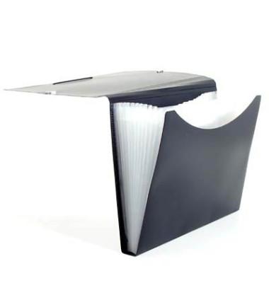 Fächermappe 70009-30 A4 mit 12 Fächern 12-teilig blanko Kunststoff schwarz