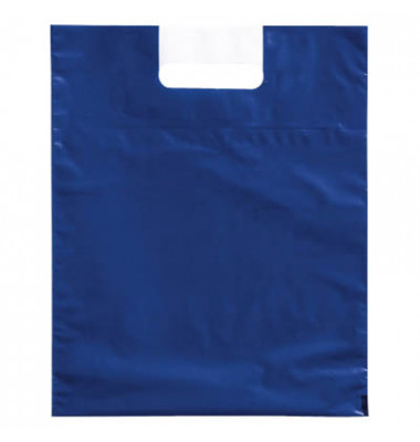 Tragetaschen blau 38,0 x 44,0 cm (BxH) mit 10,0 cm Bodenfalte