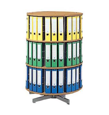 Ordnerdrehsäule 3 Etagen für bis zu 72 Ordner buche Gesamthöhe 123 cm