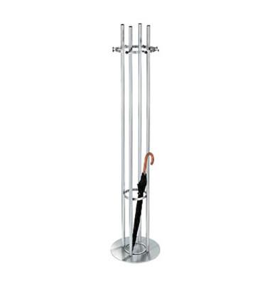 Garderobenständer Aristo 6045, mit 12 Haken, mit Schirmständer, mit Hutablage, Edelstahl, silber