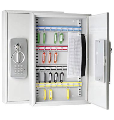 Schlüsselschrank mit 32 Haken lichtgrau Sicherheits-Zahlencode, Standardschloss