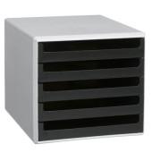 Schubladenbox lichtgrau/schwarz 5 Schubladen