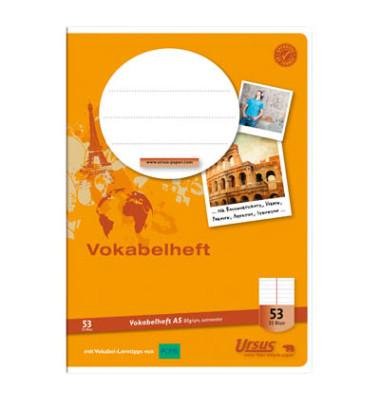 Vokabelheft A5 Lineatur 53 liniert 2 Spalten weiß 32 Blatt