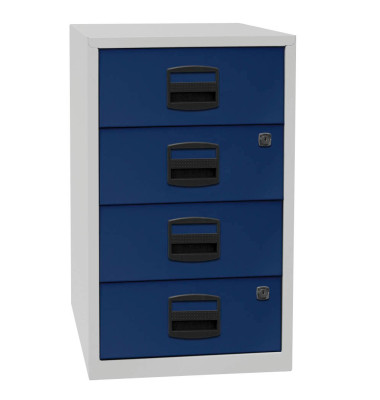 Standcontainer PFA PFA4S505 Metall oxfordblau/lichtgrau, 4 normale Schubladen, abschließbar