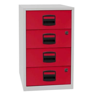 Standcontainer PFA PFA4S506 Metall rot/lichtgrau, 4 normale Schubladen, abschließbar