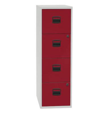 Hängeregistraturschrank 41,3 x 40 x 128,3 cm 4 Schubfächer lichtgrau/rot