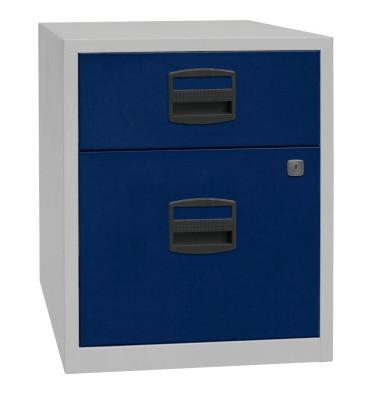 Rollcontainer PFA PFAM1S1F505 Metall oxfordblau/lichtgrau, 1 normale Schublade, mit extra Hängeregisterauszug, abschließbar