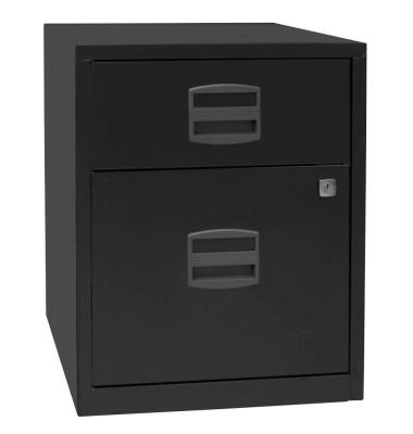 Rollcontainer PFA PFAM1S1F433 Metall schwarz, 1 normale Schublade, mit extra Hängeregisterauszug, abschließbar