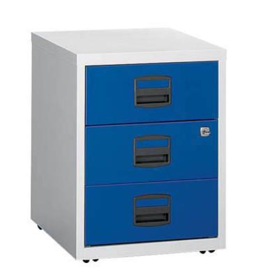 Rollcontainer PFA PFAM3S505 Metall oxfordblau/lichtgrau, 3 normale Schubladen, abschließbar