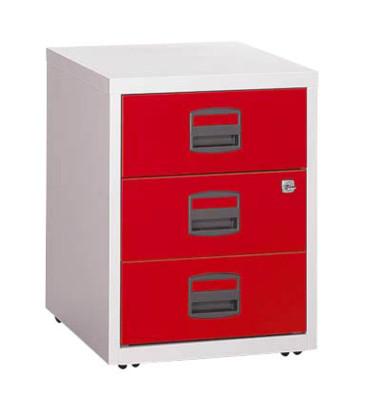 Rollcontainer PFA PFAM3S506 Metall kardinalrot/lichtgrau, 3 normale Schubladen, abschließbar