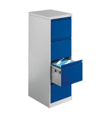 CP Hängeregistraturschränke einbahnig 4 Schubfächer lichtgrau/blau