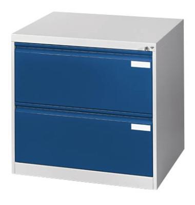 Hängeregistraturschränke doppelbahnig, 2 Schubfächer, lichtgrau/blau