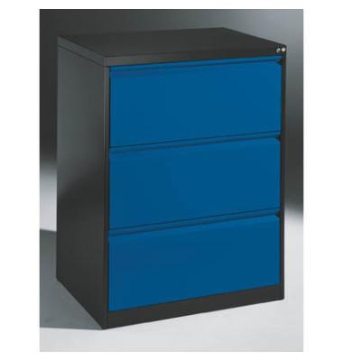 Hängeregistraturschränke doppelbahnig, 3 Schubfächer, anthrazit/blau