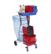 Reinigungswagen Varietta mit 3 Eimern + Presse rot/blau