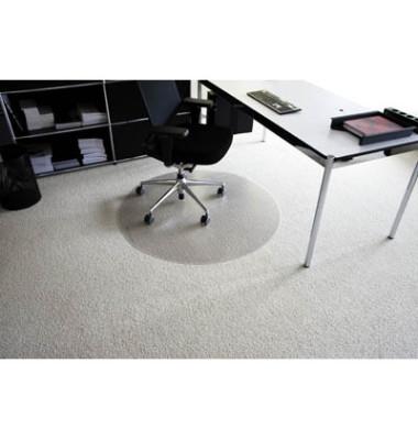 Bodenschutzmatte Rollt&Schützt Ø 90 cm Form R für Teppichböden transparent Makrolon