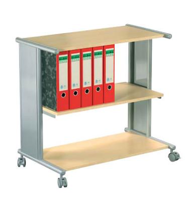 Bürowagen Pragma buche/silber 76 x 42 x 72,5 cm