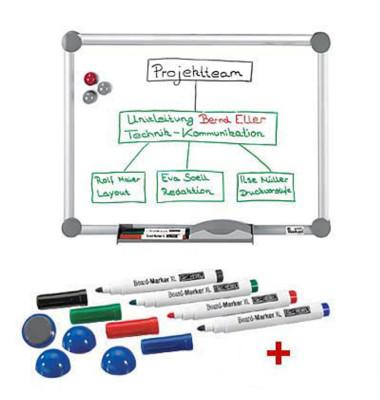 Whiteboard 2000 MAULpro 90 x 60cm emailliert Aluminiumrahmen inkl. Marker + Magnete