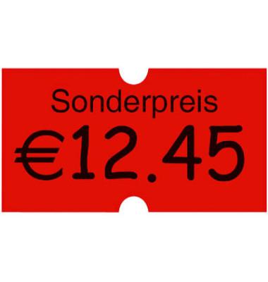 """Preisauszeichnungsetikett leuchtrot permanent """"Sonderpreis"""" Minipack"""