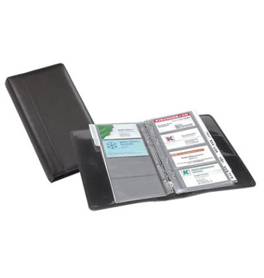 Visitenkarten-Ringbuch schwarz Leder