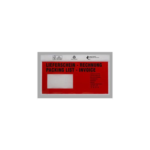 Rechnung rot mit Fenster 500 Begleitpapiertaschen DIN Lang Lieferschein