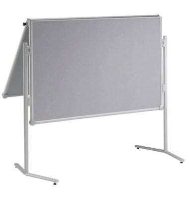 Moderationstafel Pro, 120x150cm, Glasfaser + Glasfaser (beidseitig), pinnbar, klappbar, mit Rollen, grau + grau