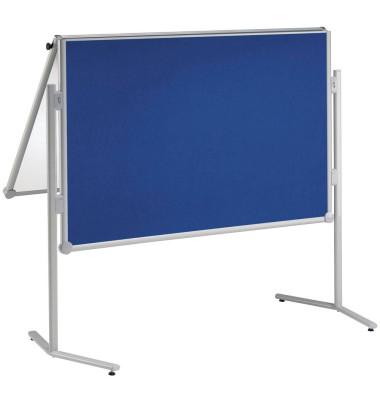 Moderationstafel Pro 638 07 82, 120x150cm, Textil + Whiteboard (beidseitig), pinnbar, klappbar, beschreibbar, magnetisch, mit Ro