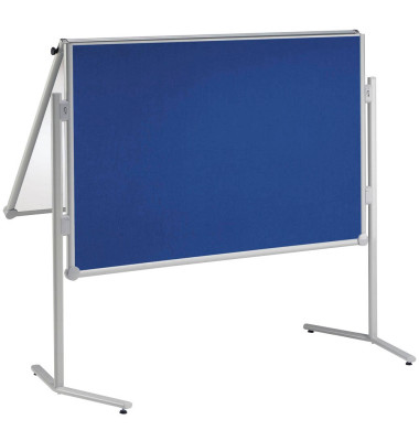 Moderationswand professionell, klappbar Textil blau Weißwandtafel + Gratis Moderations-Set
