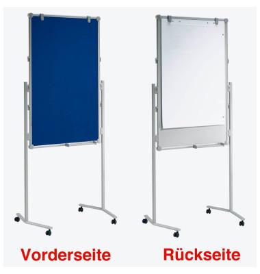 Moderationstafel Pro 638 09 82, 75x120cm, Textil + Whiteboard (beidseitig), pinnbar, beschreibbar, magnetisch, mit Rollen, blau