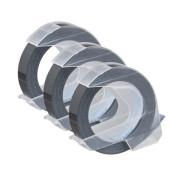 3D Plastik-Prägeband S0847730 9mm x 3m weiß/schwarz abriebfest selbstklebend 3 Stück