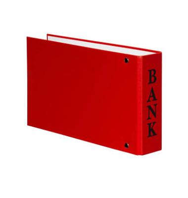 Bankordner VELOCOLOR A6 rot 30mm-2-Ring-Mechanik mit Aufschrift Bank