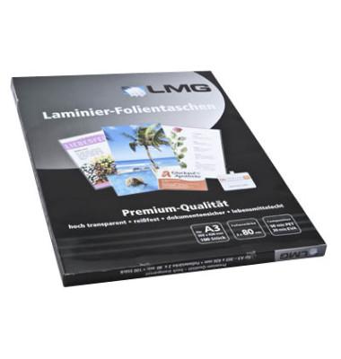 Laminierfolien A3 2 x 80 mic glänzend 100 Stück