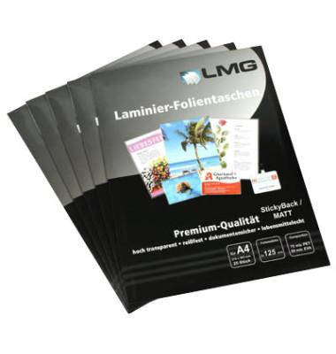Lmg Laminierfolien A4 2 X 125 Mic Selbstklebend Matt 25
