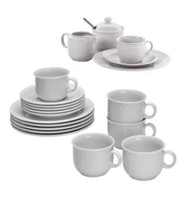 Kombi-Service Compact (6x Kaffeetassen, Untertassen, Dessertteller, 1x Zuckerdose und Sahnegießer)