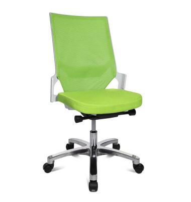 Bürodrehstuhl Autosyncron-1-Alu ohne Armlehnen grün/weiß
