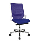 Bürodrehstuhl Autosyncron-1-Alu ohne Armlehnen blau/weiß