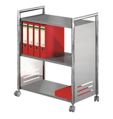 Bürowagen für Ordner alusilber/chrom 70 x 40 x 84cm