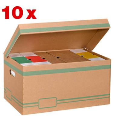 Archivcontainer 10 Stück braun für 6 Archivboxen mit 8cm Rücken 47 l